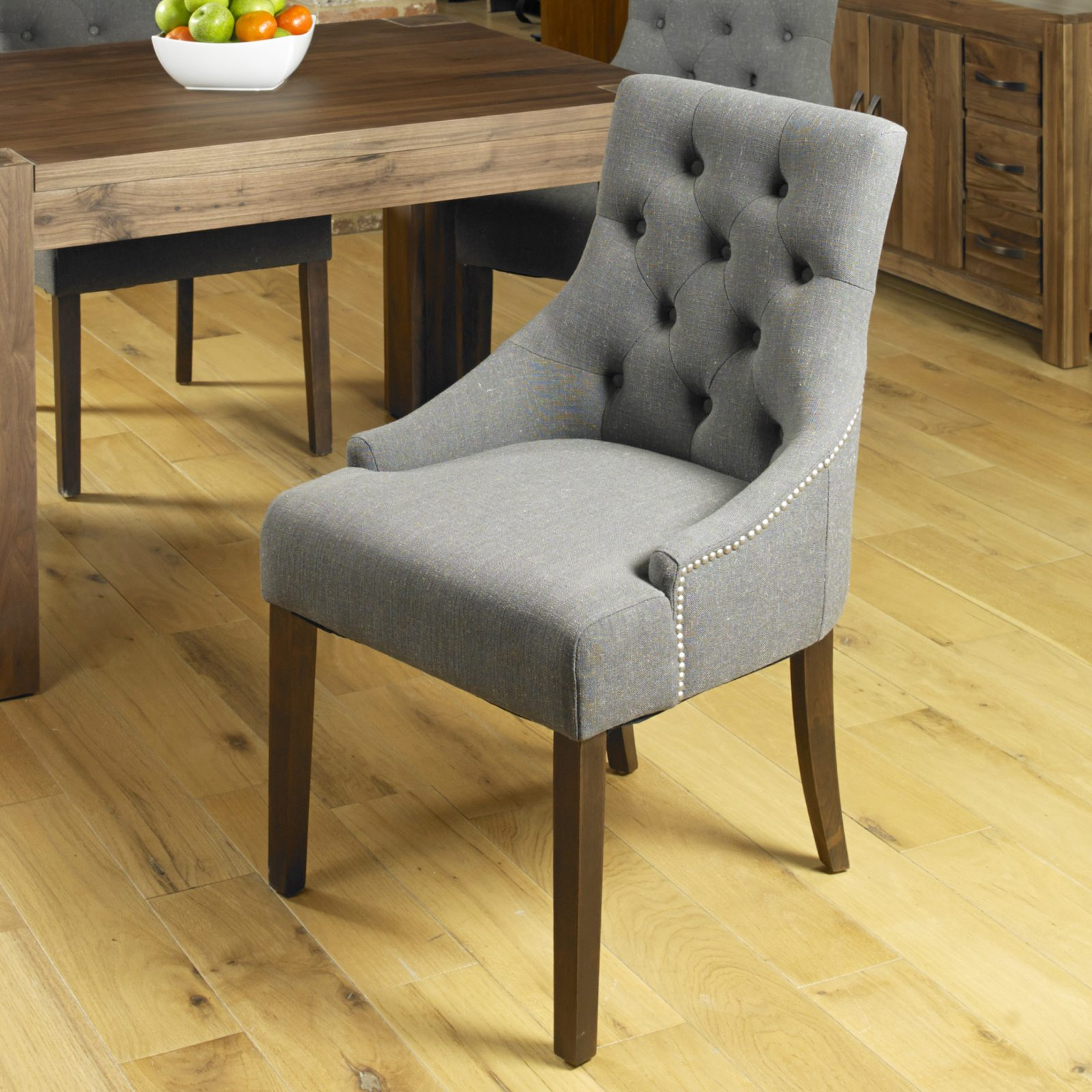 Excellent Baumhaus Shiro Walnut Accent Upholstered Dining Chair Slate Pack Of Two Ncnpc Chair Design For Home Ncnpcorg