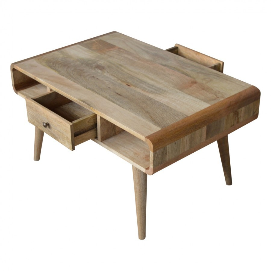 Solid Oak Finished Mango Wood Two Drawer 4 Slot Curved Coffee Table Available 5th February