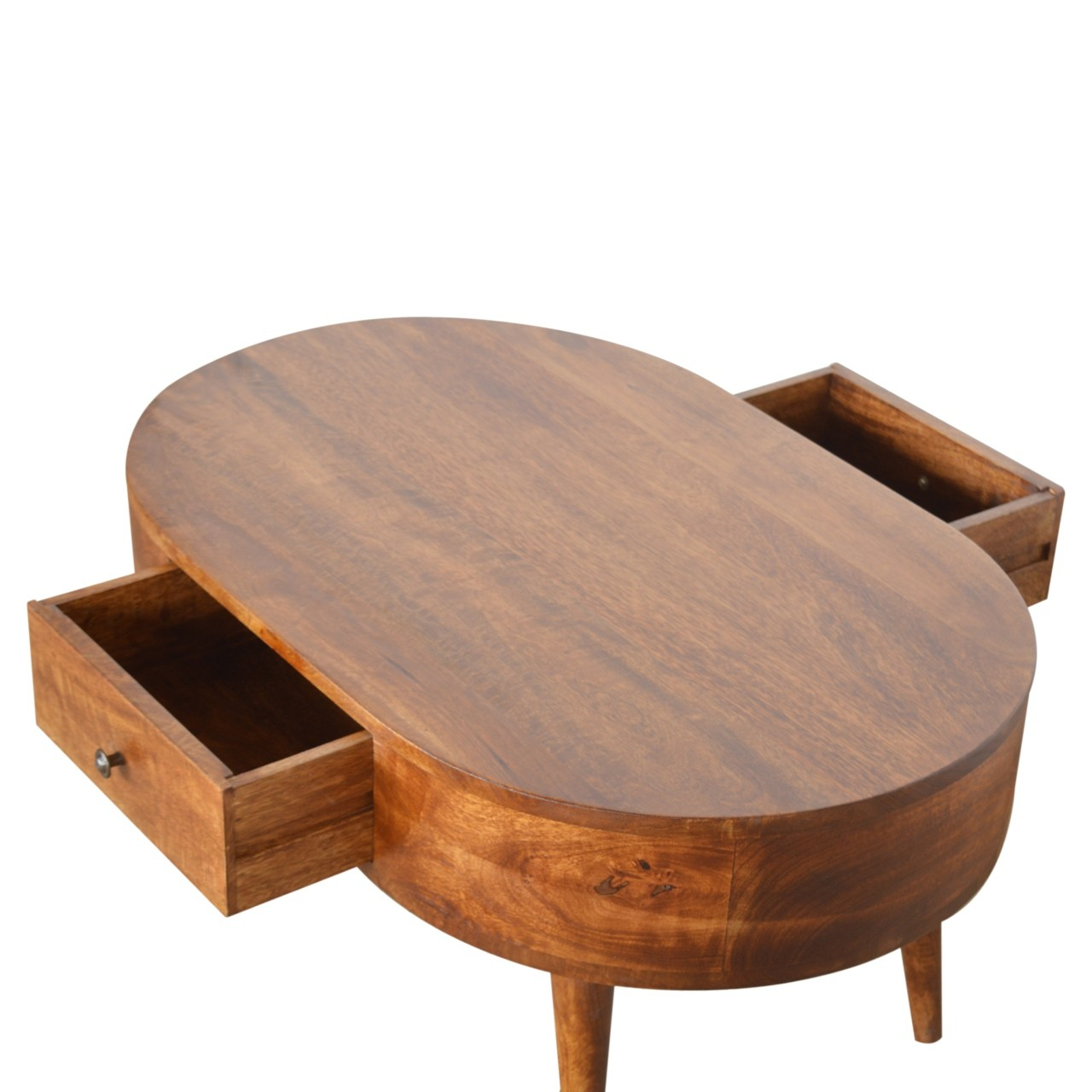 Solid Mango Chestnut Finished Wood 2 Drawer Rounded Coffee Table 1 Drawer Each Side